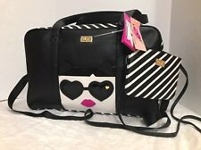 LUV BETSEY JOHNSON WEEKENDER W CROSSBODY CARRY ON LBREEGS CAT FACE PRINT NWT