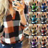 Womens Blouse Basic Pullover Tee Plaid Patchwork Loose Ladies Casual Shirt Tops