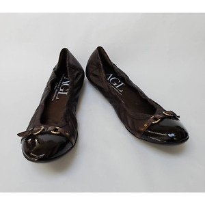 AGL Attilio Giusti Leombruni Womens Brown Shoes Ballet Leather Cap Toe Size 13