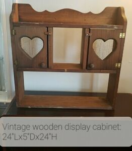 Vintage Wooden Rustic Cabinet/Spice Rack/Curio Display, Tabletop or Wall Mount
