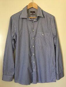 MENS 'RODD & GUNN' Size S BLUE WHITE STRIPE 100% COTTON LONG SLEEVE BUTTON SHIRT