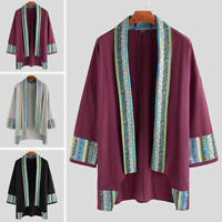 Vintage Men Kimono Coat Yukata Outwear Cardigan Chinese Floral Jacket Tops Shirt