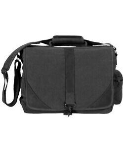 Black Vintage Military Urban Canvas Tactical Laptop Case W/Leather Accents 9890