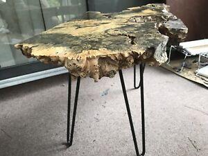 Buckeye Burl Slab Coffee Table Furniture Steel Hairpin Legs Rare Exotic Wood
