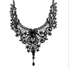 Vintage Gothic Black Flower Lace Choker Collar Necklace Beads Chain Women Gift