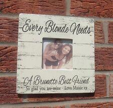 shabby vintage chic blonde & brunette gift photo frame personalised friend