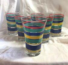 Vintage Pier 1 Turqouise, Yellow, Blue and Red Stripe 16 oz. Beverage Glasses- 6
