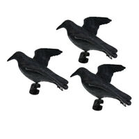 3pcs Fake Realistic Hunting Decoy Bird Crow Scarer Scarecrow Hunting Garden
