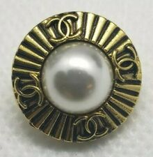 1 CC Chanel Gold with pearl  buttons 18 mm STAMPED high quality button