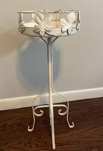 "Vintage Victorian Metal Plant Stand 26"" Tall Leaf Vine Design Cream White Shabby"