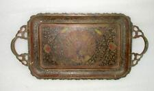 Antique Old Indian Brass Hand Carving Peacock Flower Figure Painted Tray Plate
