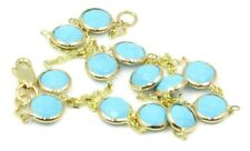 "Reconstituted 4 mm Turquoise 10"" Anklet set in 14k Yelllow Gold Cable Chain"