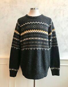 NEW - FAT FACE Charcoal Grey Fair Isle Nordic Wool Blend Chunky Knit Jumper XXL