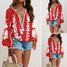 Womens Bohemia Printed Floral Blouse T-shirt Puff Sleeve Deep V Neck Shirt Top