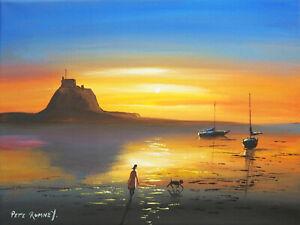 Pete Rumney Art Original Hand Painted Holy Island Beach Dog Walk Sunrise Boats