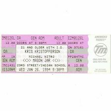 KRIS KRISTOFFERSON & MICHAEL NITRO Full Concert Ticket Stub 1/26/94 PHOENIX AZ