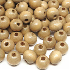 Lot de 100 Perles Rondes en Bois 8mm Marron clair