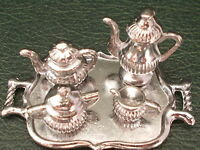 1/12th Scale. Dolls House. Silver Coloured Coffee/Tea Set.