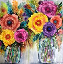 Heavy Textured Floral painting by Robyn Rumbold