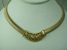 Vintage 1980's Gold Tone Snake Chain Center Pendant Gold Tone Necklace by 1928