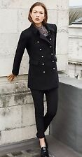 ZARA Black Wool Short Military Coat with Gold Buttons Small S Jacket (Last One)
