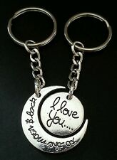 New 'I love you to the moon and back' Couples Silver Tone Keyring Bag Charm Set