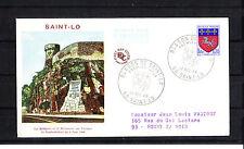 enveloppe 1er jour    blason de  Saint  LO   voyagée  1966
