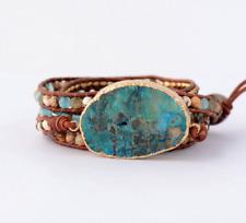 Ocean Jasper Gilded Gold Turquoise Druzy Geode Beaded Wrap Bracelet | Cuff