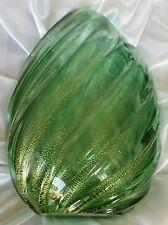 Archimede Seguso Aventurine  Ribbed Vase . Murano Art glass