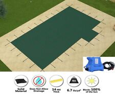 GLI HyperLite Solid w/ Pump Rectangle Pool Safety Cover w/ Right 2' Offset Step