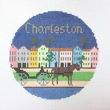 Handpainted Needlepoint Canvas Charleston Ornament Silver Needle Lee Needlearts