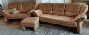 3-tlg. Koinor Sitzgarnitur (2er / 3er Couch, Hocker) hochwertiges Leder in creme