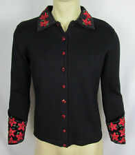 Ugly Tacky Christmas Xmas Cardigan Sweater button front Poinsettias Black S