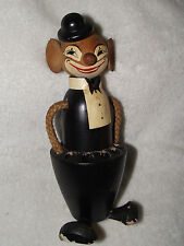 Antique Vintage WOODEN Mouse Pencil Holder Cup Pen Holder Mouse w/ Tuxedo...RARE
