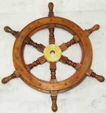 Nautical Decoration Rudder Wall Hanging Wood Collectible Boat Ship Wheel 18""