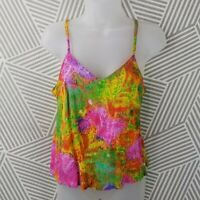 Vintage Jams World size Small Hawaiian Rayon Sleeveless Floral Tank Top Tropica