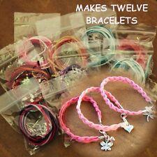 D/PK douze Mix couleur daim métal bracelet breloque Kits Cristal Blotter Perles