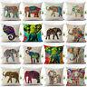 "Color African Elephant Printing Pillow Case Sofa Waist Throw Cushion Cover 18"""
