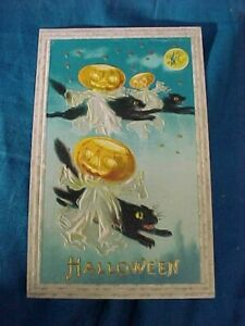 Early 20thc HALLOWEEN POSTCARD w 3 FLYING BLACK CATS w GHOSTLY RIDERS