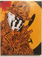 Watchmen Rorschach DC Comics button hand painted fan art signed canvas original