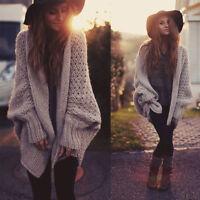 Women's Fashion Plain Oversized Ladies Batwing Sleeve Coat Cardigan Sweater