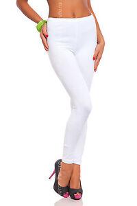 Lungo Bianco Cotone Premium Leggings Comodo Elasticizzato Pantaloni Taglie 8-22