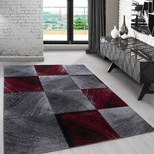 Teppich Designer Modern Wohnzimmer Karo Design Meliert Grau Schwarz Rot Oeko Tex