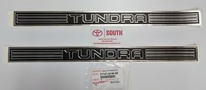 2007-19 Double Cab Tundra OEM Door Sill Protectors Platinum Chrome & Black, 2 pc