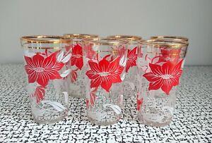 50s 60s Vintage Retro Kitsch Gold Rimmed Floral Drinking Cocktail Glasses Set 6