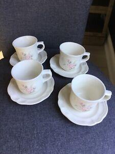 PFALTZGRAFF Tea Rose Set of 4 Coffee Tea CUPS SAUCERS Plates Ivory Blue Pink 🌸