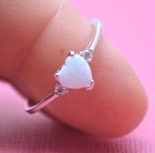 CUTE SHIMMERING WHITE OPAL HEART C.Z. STONE RING Genuine Sterling Silver Size 11