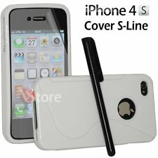Cover Case Silicone Gel TPU S-line White For IPHONE 4/4G/4S +Film Pen