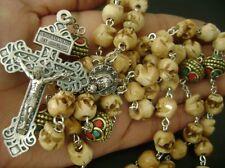 BONE SKULL & NEPAL VINTAGE COPER BEADS CATHOLIC 5 DECADE ROSARY CROSS NECKLACE