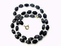 """VINTAGE Faceted FRENCH JET Black & White Glass  BEAD NECKLACE 16.5"""" GIFT BOXED"""